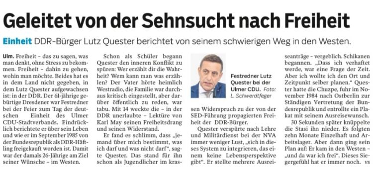 Lutz Quester als Festredner bei der CDU Ulm